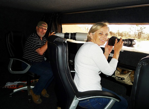 wildlife photography in photographic hide at Indlovu River Lodge in Greater Kruger Park