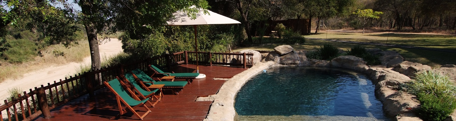 Swimming pool on safari at Indlovu River Lodge near Hoedspruit in Greater Kruger Park